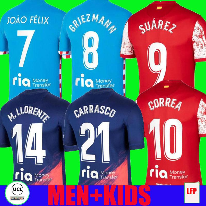 21 22 Griezmann 8 Atletico Soccer Jerseys Madrid Suarez João Félix 2021 2022 M. Llorente Correa Koke Camisetas De Fútbol Lemar Carrasco 남성 키트 축구 셔츠 탑 3RD