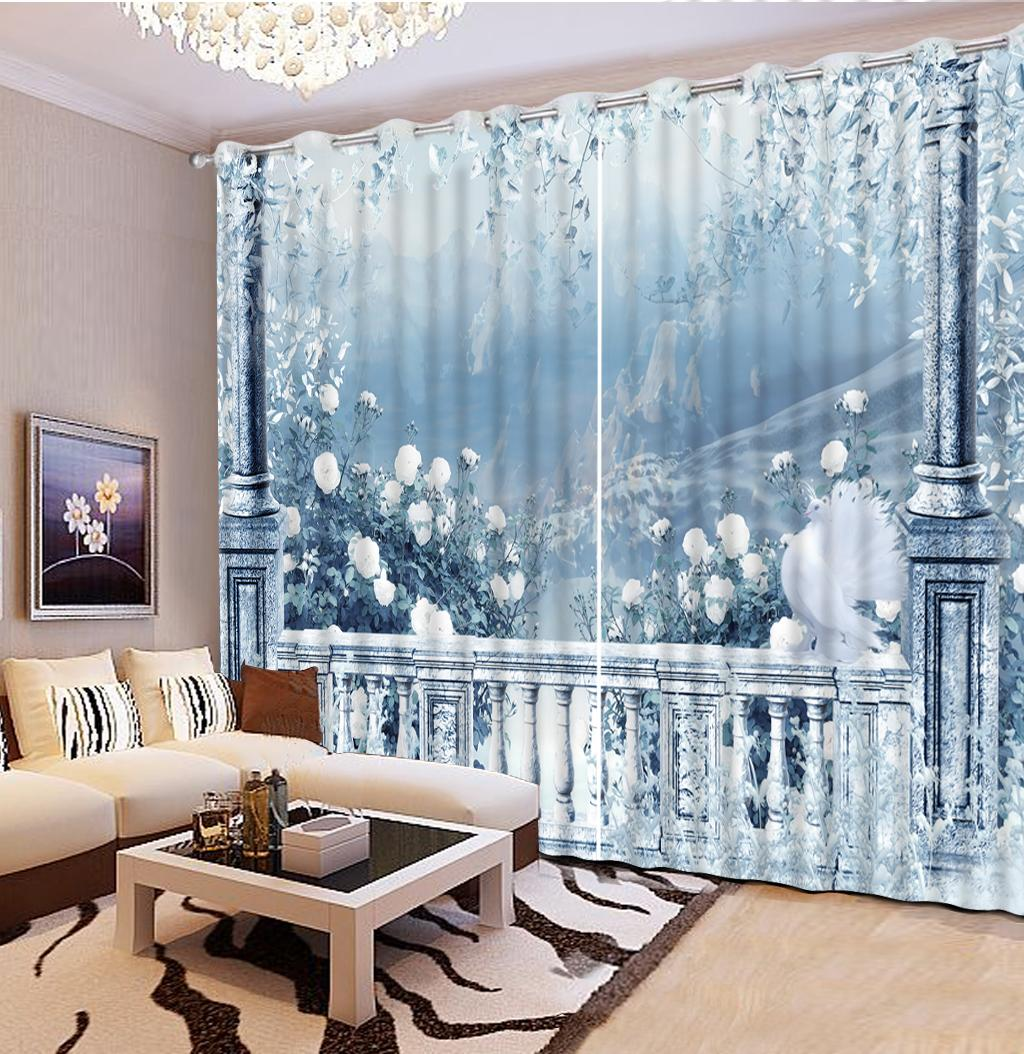 Window Decorative 3D Curtain Beautiful landscape Photo Living Room Modern Thread Curtains Custom any size