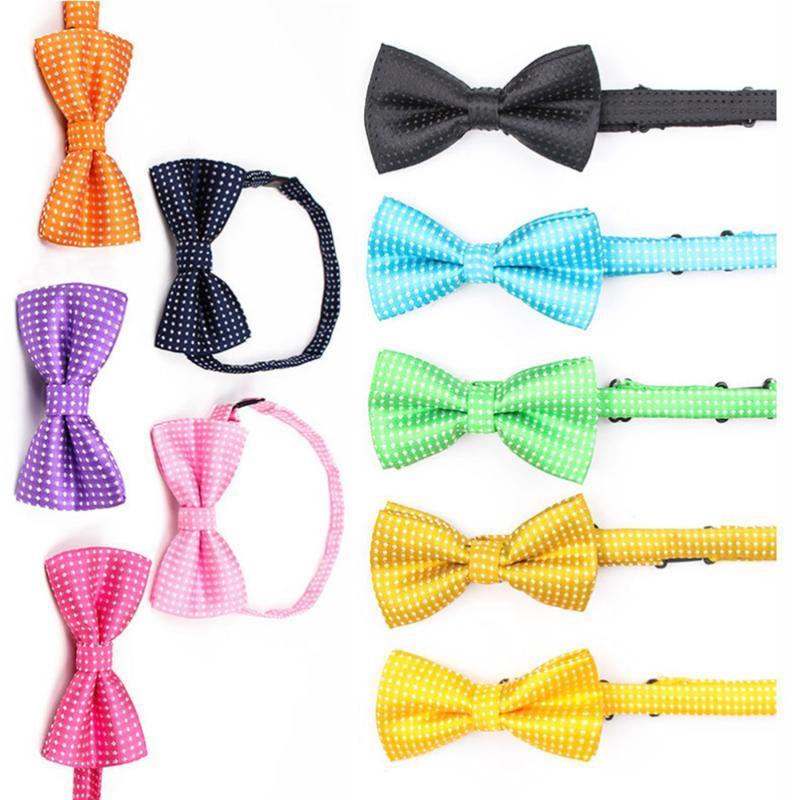 Hundebekleidung 10 stücke Polka Dot Pet Bow Bindungen Kragen Krawatten Verstellbares Zubehör (zufällige Farbe)