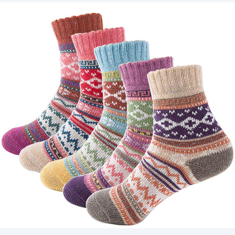 두꺼운 도매 - 가을 겨울 따뜻한 여자 양말 사랑스러운 달콤한 클래식 다채로운 멀티 패턴 양모 혼합 문학 아트 스타일 캐시미어 양말