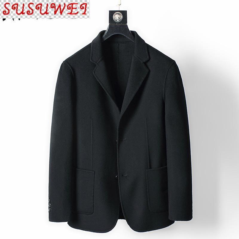 Herren Wollmantel Frühling Herbst Schwarz Zweiseitige Wolljacke Männer Mantel 2021 Casaco Masculino MC18D337 KJ4291 Mischungen
