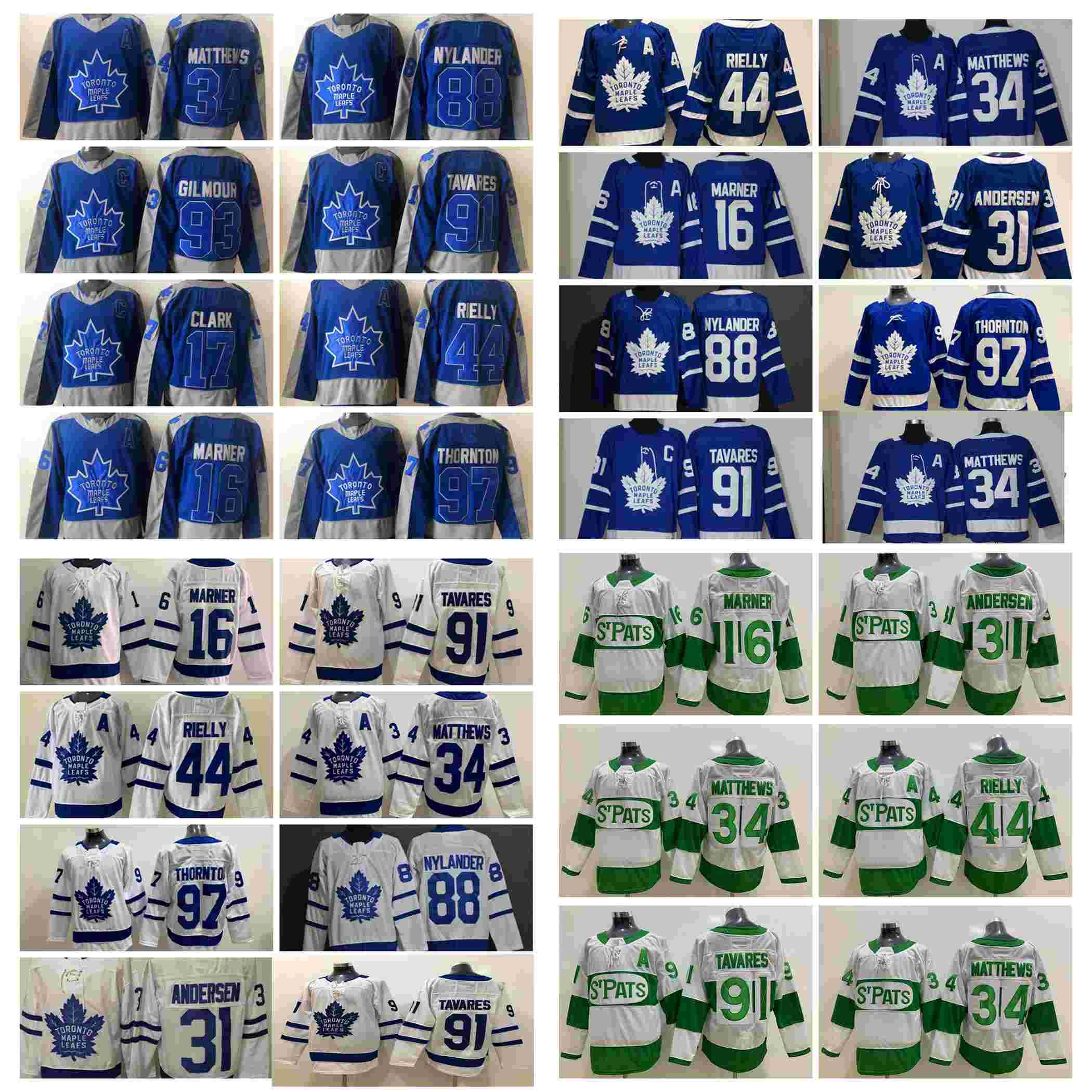 2021 Toronto Maple Leafs Hóquei Jerseys Mens Auston Matthews Jersey Mitchell Marner Jack Campbell Joe Thornton John Tavares William Nylander Costurado