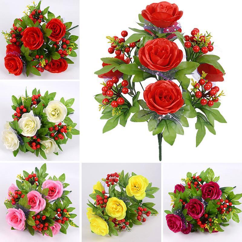 42 سنتيمتر مصغرة روز 1 باقة 6 زهرة رئيس مع الأحمر التوت الحرير الفروع وهمية الزهور الاصطناعي ل ديكور الزفاف الزخرفية