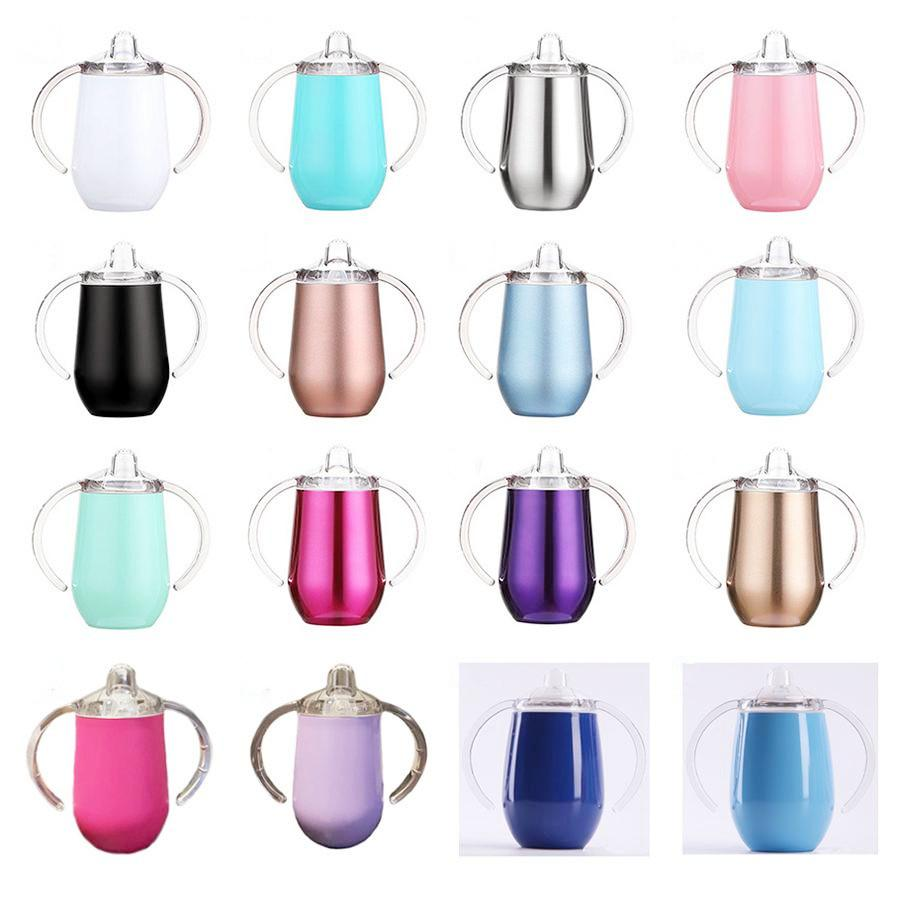 10oz Kid Water Bottle Mugs Stainless Steel Tumblers with Handle Travel Baby Sippy Cup BAP FREE WWQ