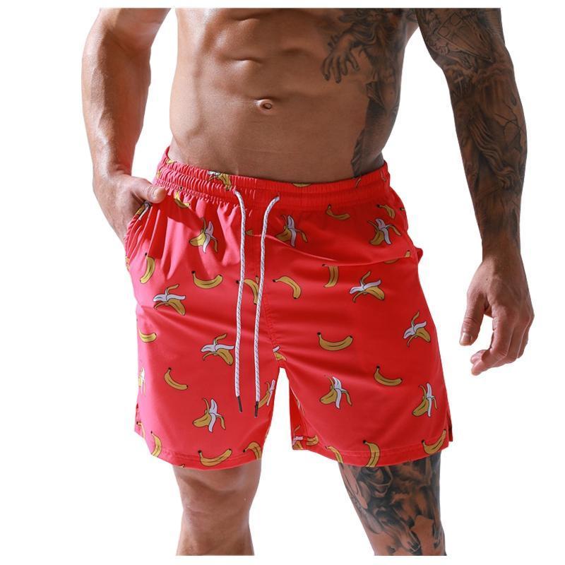 Shorts masculinos curtos para homens verão praia elástica cintura elástica Bolso respirável Rápido treino seco estilo padrão homem conforto