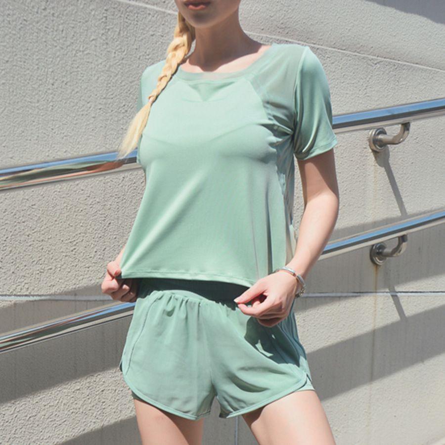 Red Fitness Red Traje de la red de la ropa suelta y delgada de las mujeres Secado rápido Correr Yoga Dos piezas Set Verano BCMQ