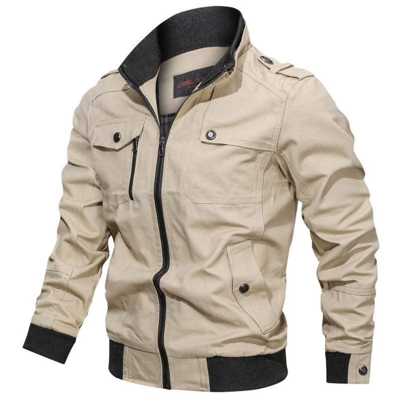 Jaquetas dos homens homens jaqueta casual cor sólida zíper bolso de bolso gola grande tamanho grande