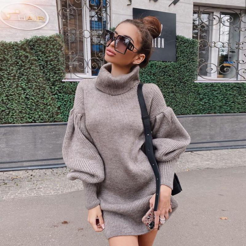 Frauenpullover Langer Rollkragenpullover-Pullover-Kleid Frauen Herbst Winter Elegante lose gestrickt und Pullover koreanische Strickwaren Jumper-Strick 2021