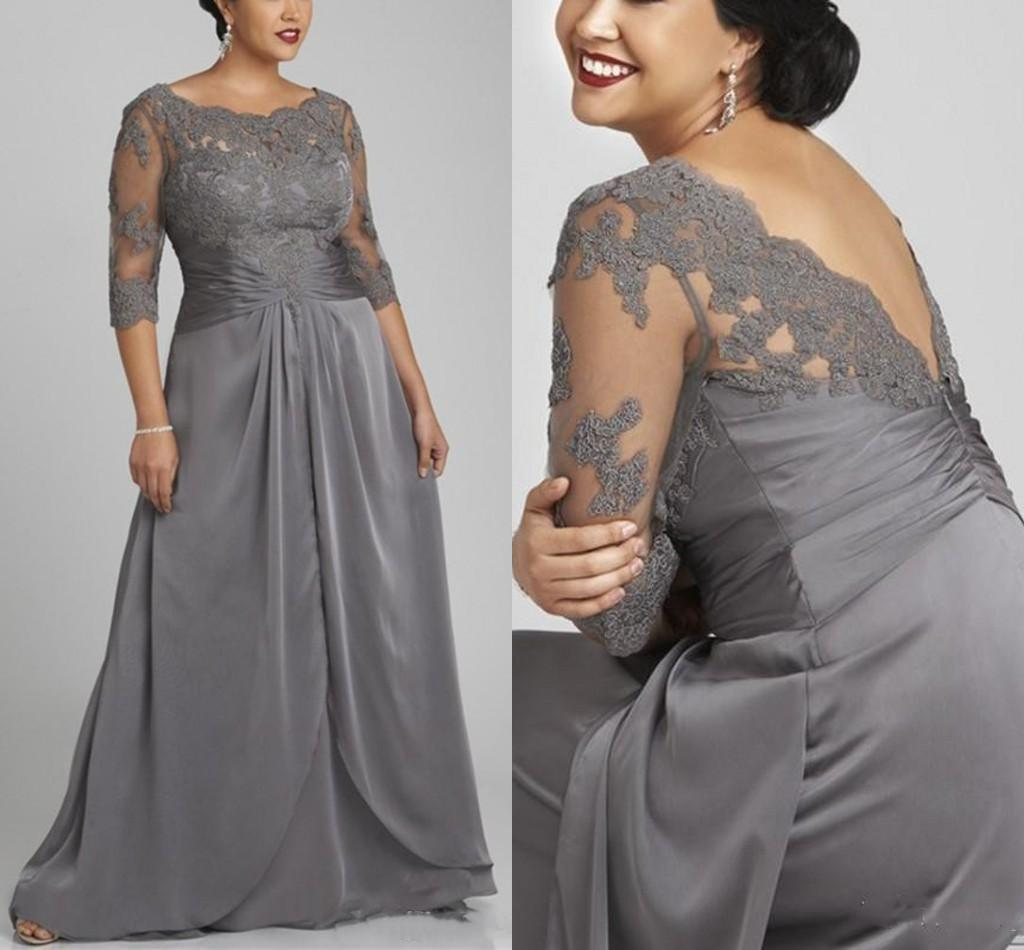 Plus Size Gray Mermaid Mother of the Bride Dresses with 3/4 Sleeves Scoop Neck Lace Chiffon Floor Length Formal Evening Prom Party Gowns
