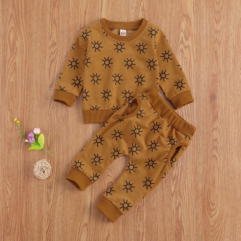 소녀 0-24M 태어난 아기 소년 긴 소매 스웨터 탑 + 바지 복장 2pcs 태양 인쇄 된 의류 세트 세트