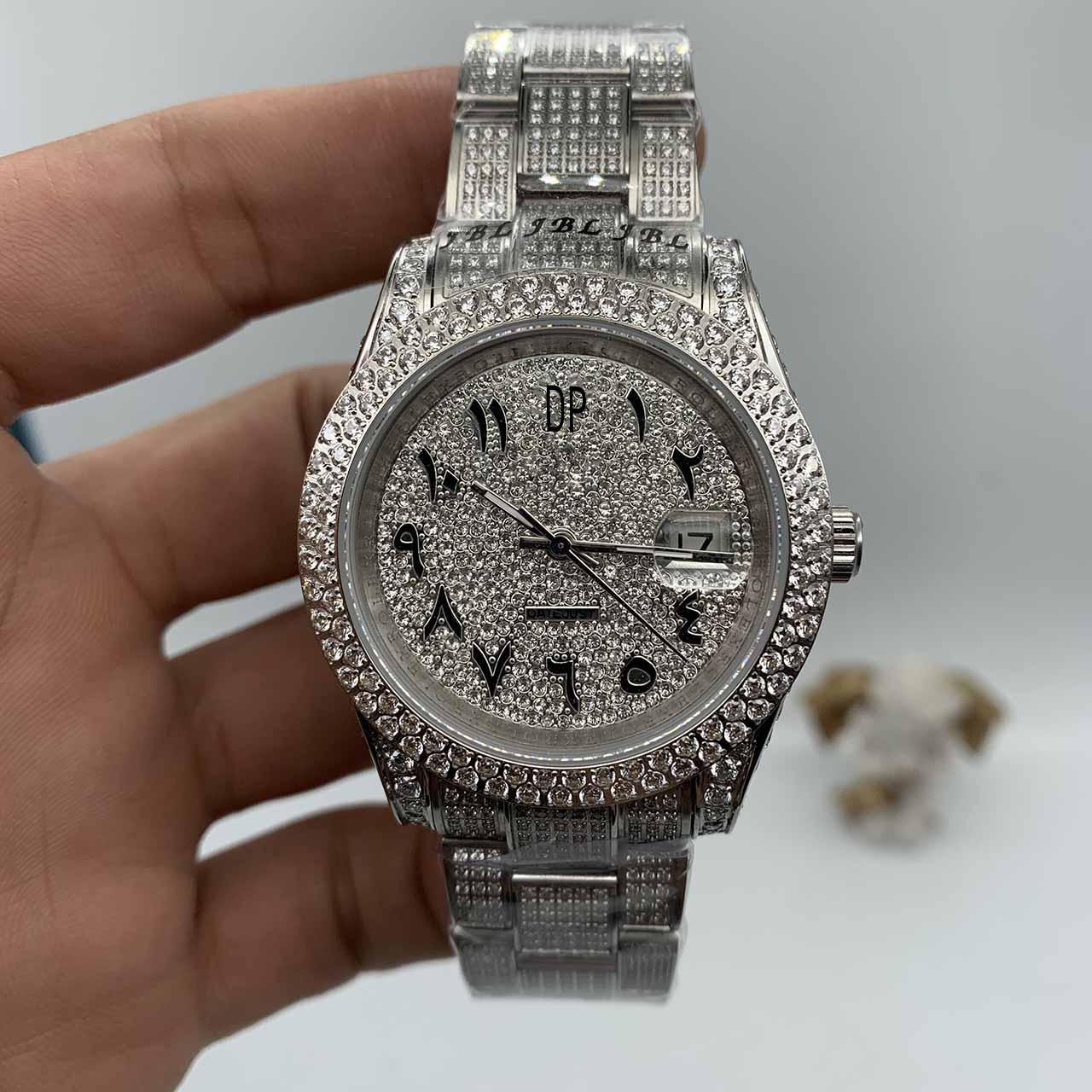 Montres de mode en diamant entièrement diamant Hommes Arabic Digital Scale Montre Gold Face Mécanique Montre mécanique Sapphire Verre 41mm
