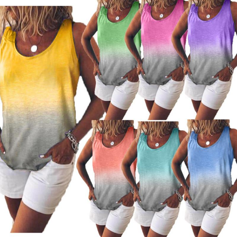 High Quality Womens T-Shirt Rainbow Gradient Vest Ladies Lace-up Sleeveless Shirt Loose Casual Top