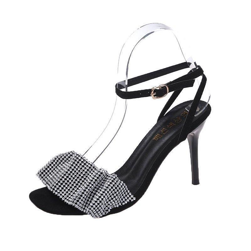 Kadınların Sandalet Topuklu Moda Tüm Maç Inci Vampir Rhinestones Süslenmiş Trend Seksi Casual Açık Toed Elbise Ayakkabı