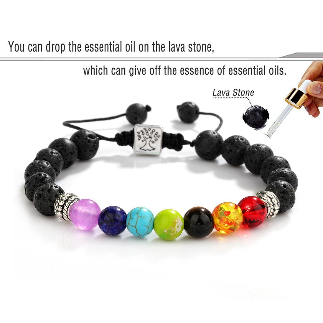 7 Chakra Natural Stone Bracelet Tree of Life Charm Yoga Healing Balancing Oil Diffuser Bead Braided Bracelets