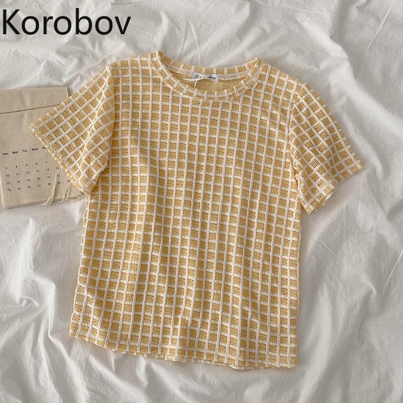 Korobov 2021 Estate Donne T-shirt T-shirt Koreane Sweet Plaid Camicia femminile Preppy Style O Collo Manica corta Tee Tops T-shirt da donna
