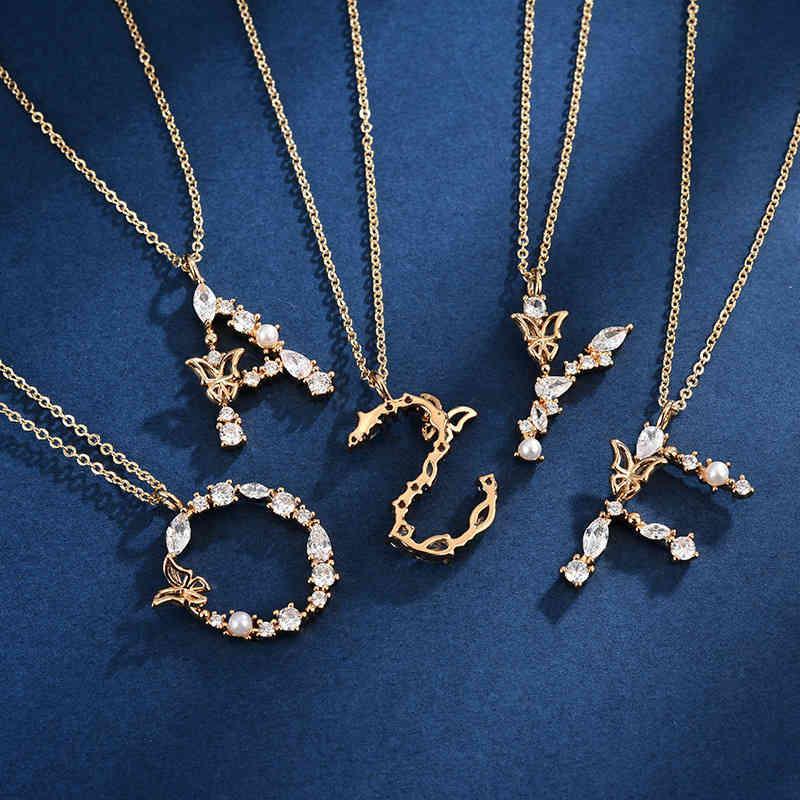 Collier Simple Mode 925 Exquis Diamant 26 lettres Nelace Femme Pendentif polyvalent