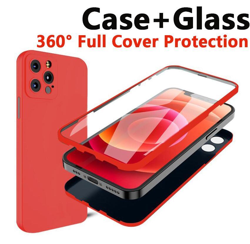 360 درجة الحالات حماية البزاء في واقي شاشة زجاجي من فون 12 ميني برو ماكس غطاء تغطية كاملة الهاتف حالة رقيقة جدا