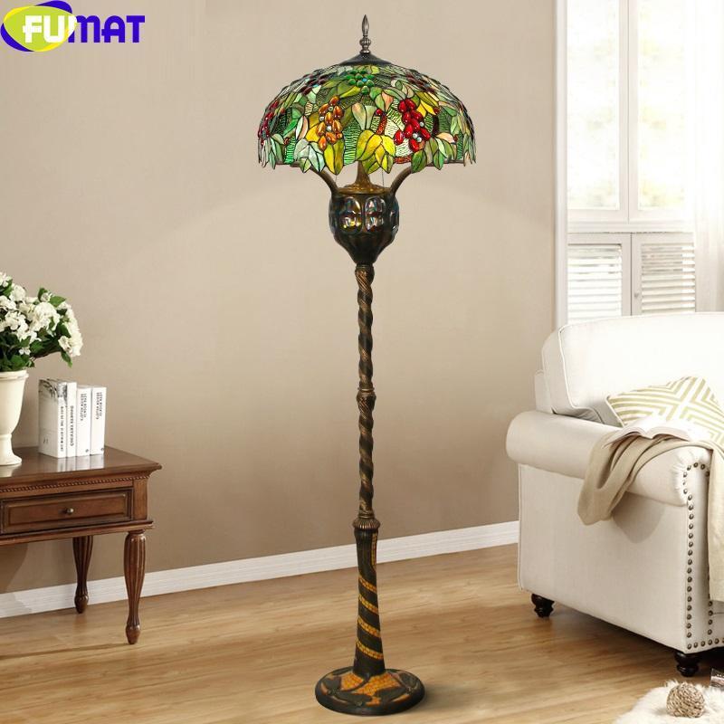 """티파니 스타일 녹색 포도 바닥 램프 표준 빛 다리미 캐스트 잠자리 모자이크 프레임 스테인드 글라스 Dia22 높이 67 """"램프"""