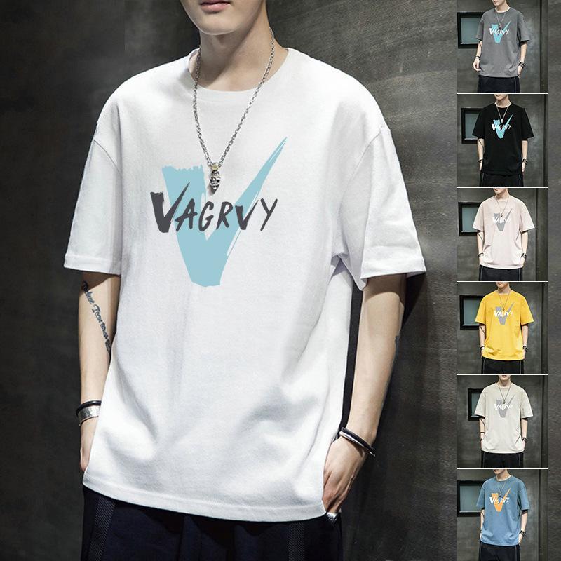 Sommer Kurzes T-Shirt Jugendtrend Lose Halbhülsenliebhaber 'Gedruckt Base Shirt Herrenkleidung Männer