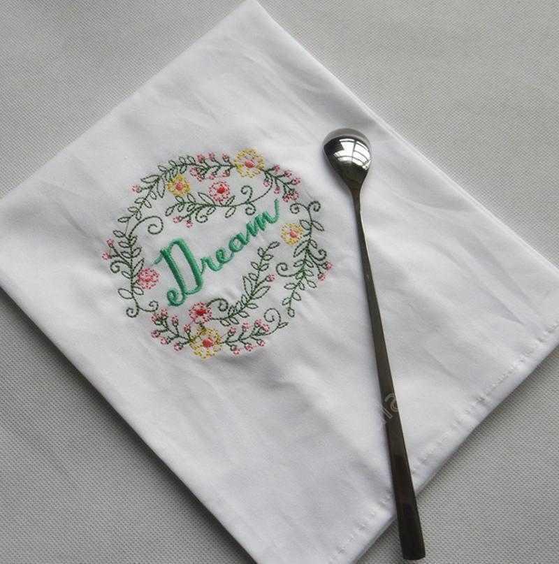 Вышитые салфетки писем хлопчатобумажные чайные полотенца абсорбирующая таблица салфетки кухня пользы для ночного платка бутик свадьба тканью 5 дизайнов dad254