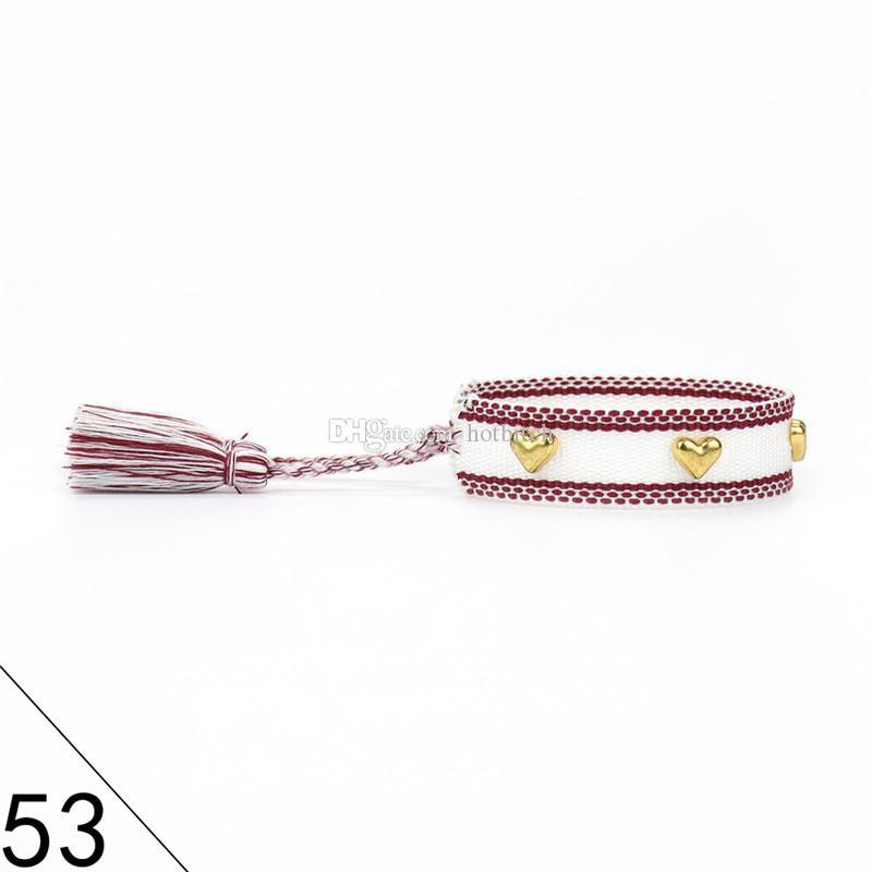 Braccialetto in nappa a forma di cuore oro Coppia Polso da polso a mano corda a doppio lato Bracciali intrecciati European American Nail Wristband Gioielli