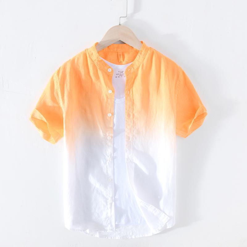 100% reine Leinen Sommer Gradienten Hemden für Männer Kurzarm Tops Männlich Casual Stand Collar Japanische Mode Designer Männer