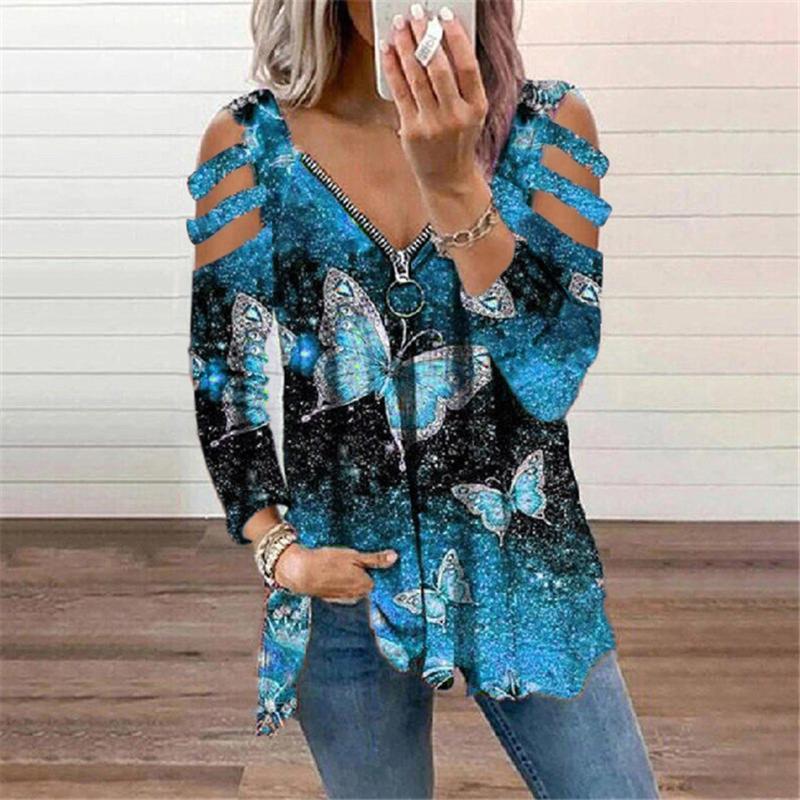 Kadın Bluz Gömlek Kelebek Baskılı Oymak Kollu Bluz Bayan Baskılar Off-the-omuz Uzun Kollu Yaz Rahat Gevşek Tee Tops