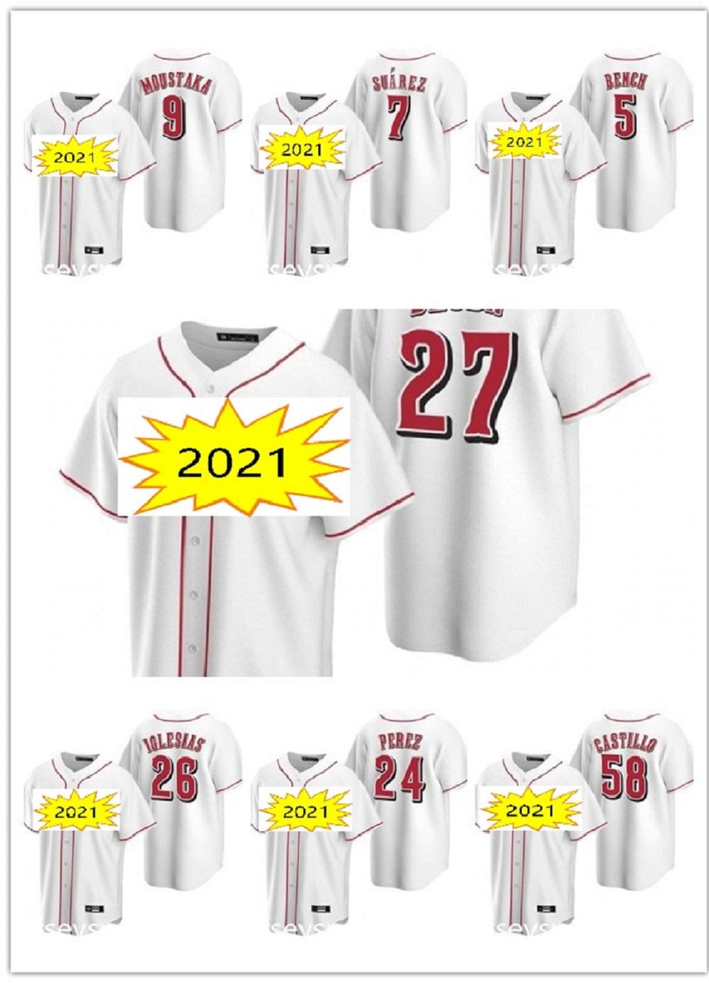 20 21 Cincinnati Aristides Aquino 남성 여성 아이들 빨간색 야구 유니폼 시즌 조이 votto raisel iglesias Jesse Winker Eugenio Johnny Scott