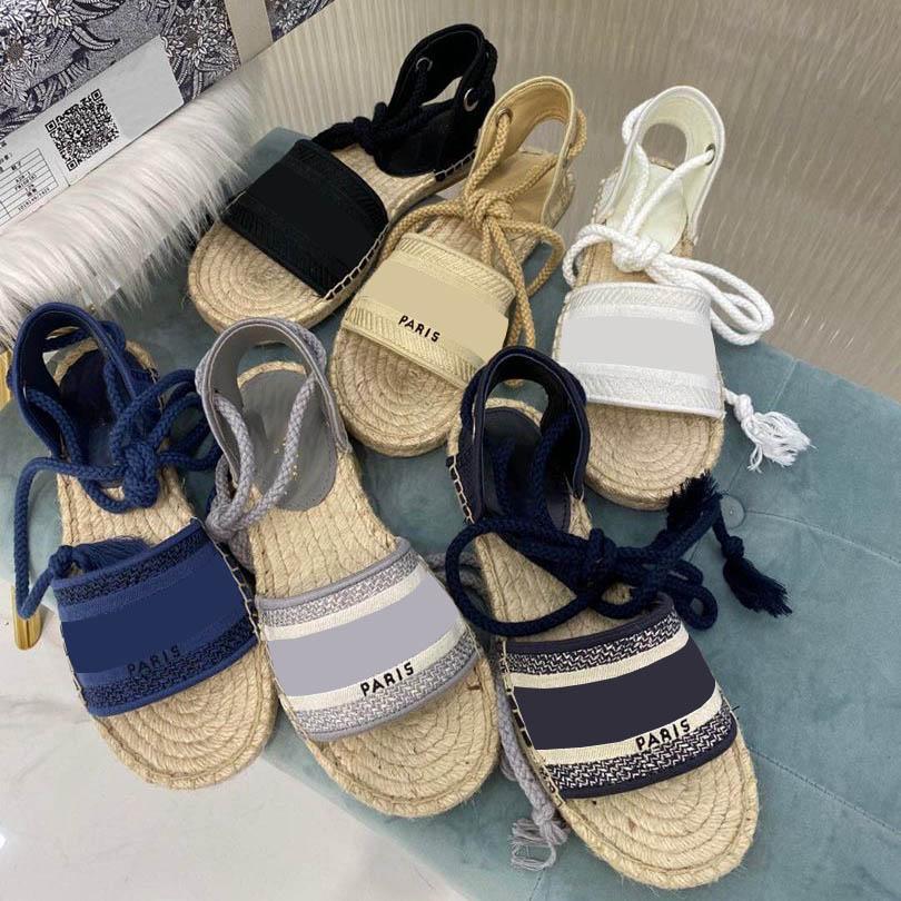 Yaz Platformu Rahat Sandal Moda Alfabe Balıkçı Ayakkabı Deri Kadın Ayakkabı Kenevir Halat Çim Lace Up Dokuma Sandalet Büyük Boy 35-42