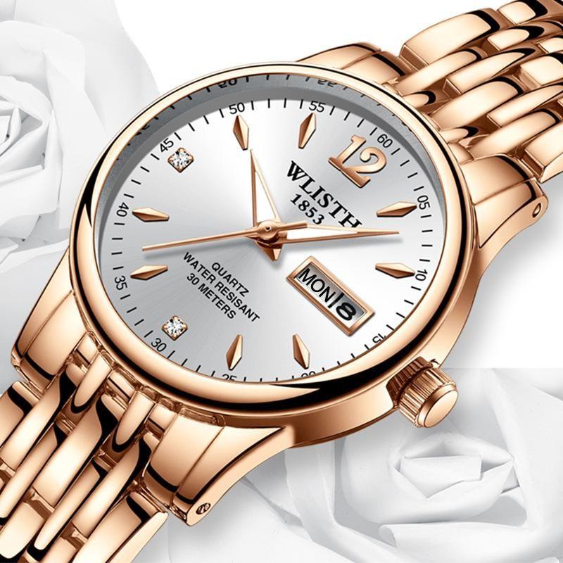 Armbanduhren frauen kleid uhr rose gold edelstahl wlisth marke mode damen armbanduhr week week date quarz uhr weibliche luxusuhren