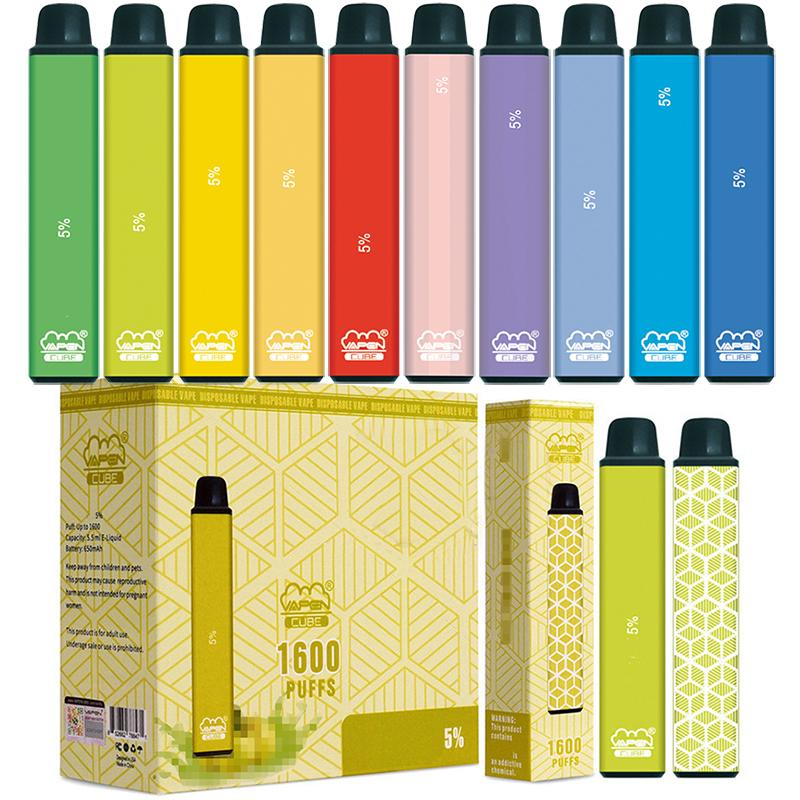 원래 Vapen 큐브 1600 퍼프 일회용 vape 펜 키트 전자 담배 스타터 650mAh 배터리 5.5ml 용량 휴대용 기화기 미리 채워진 막대 CIGS 증기 도매