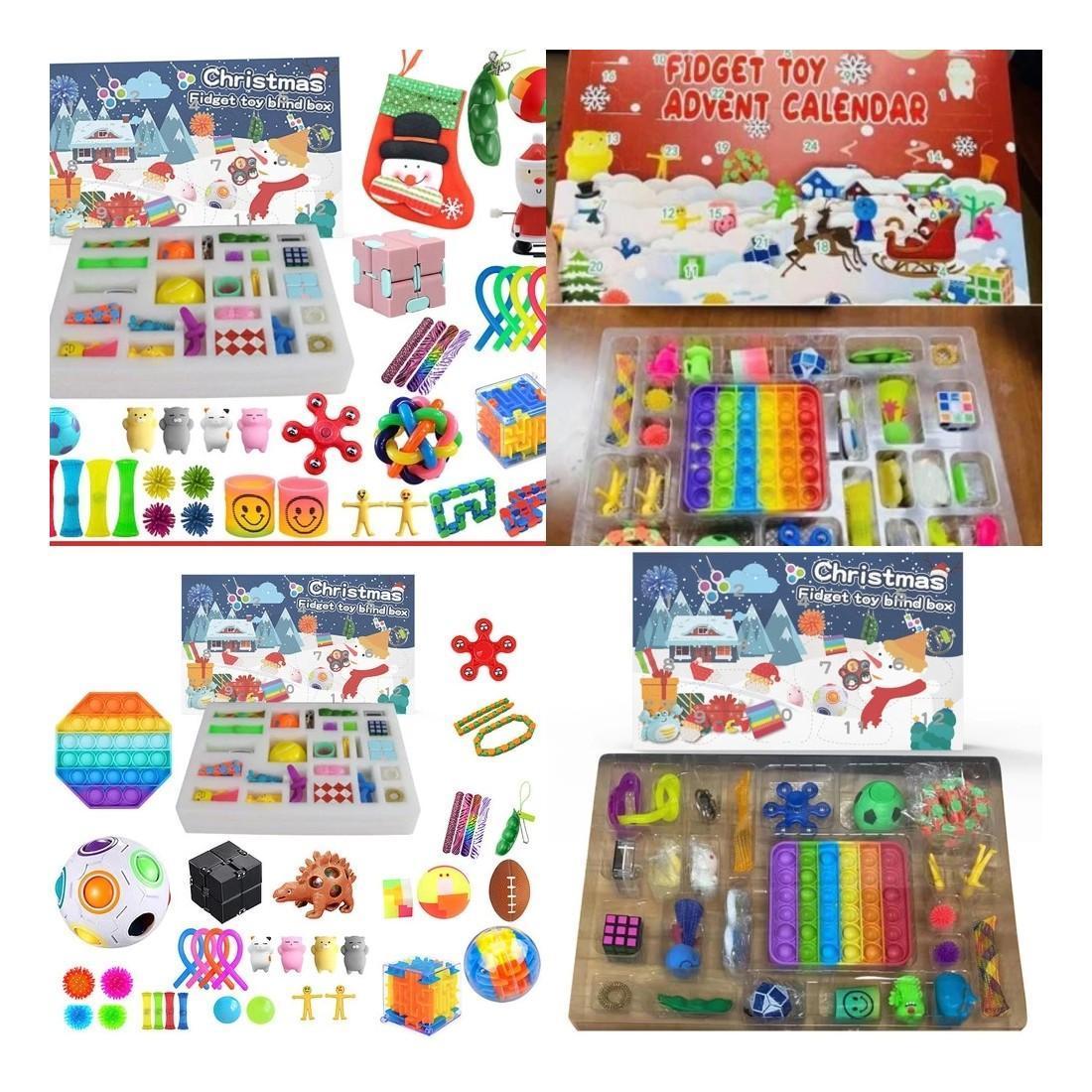Consegna rapida Tiktok Favore Christmas Blind Box Avvento sensoriale calendari fidget giocattoli Bift regalo di Natale per bambini Bambini Push Bubble Autism