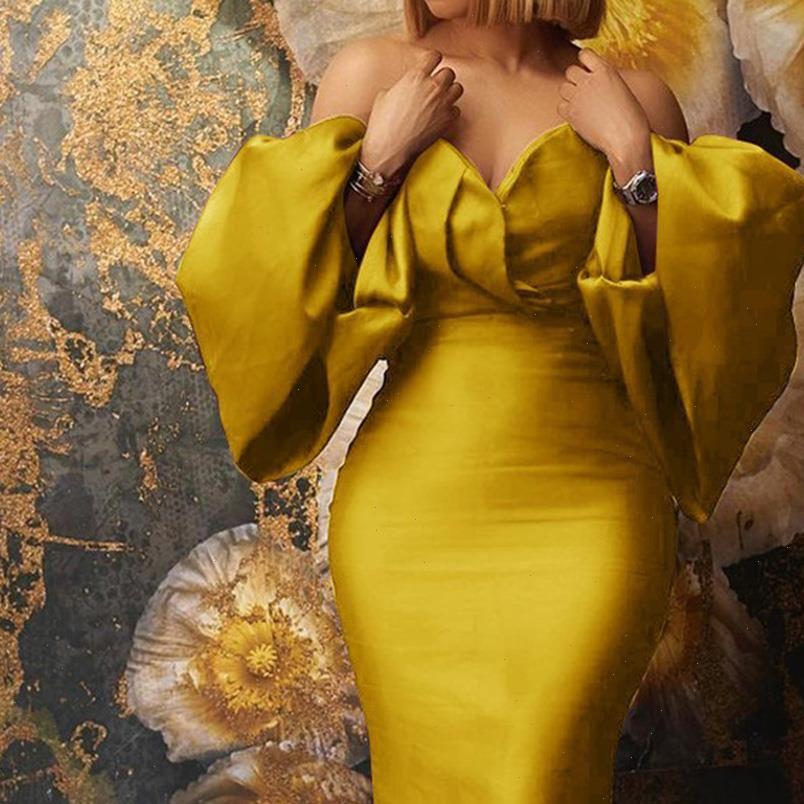Stilvolles Frauen Kleid Frauen Frühlingsmode Afrikanische Übergroße Tube Top Sexy Trägerlose Laterne Langarm Abend Party Kleider