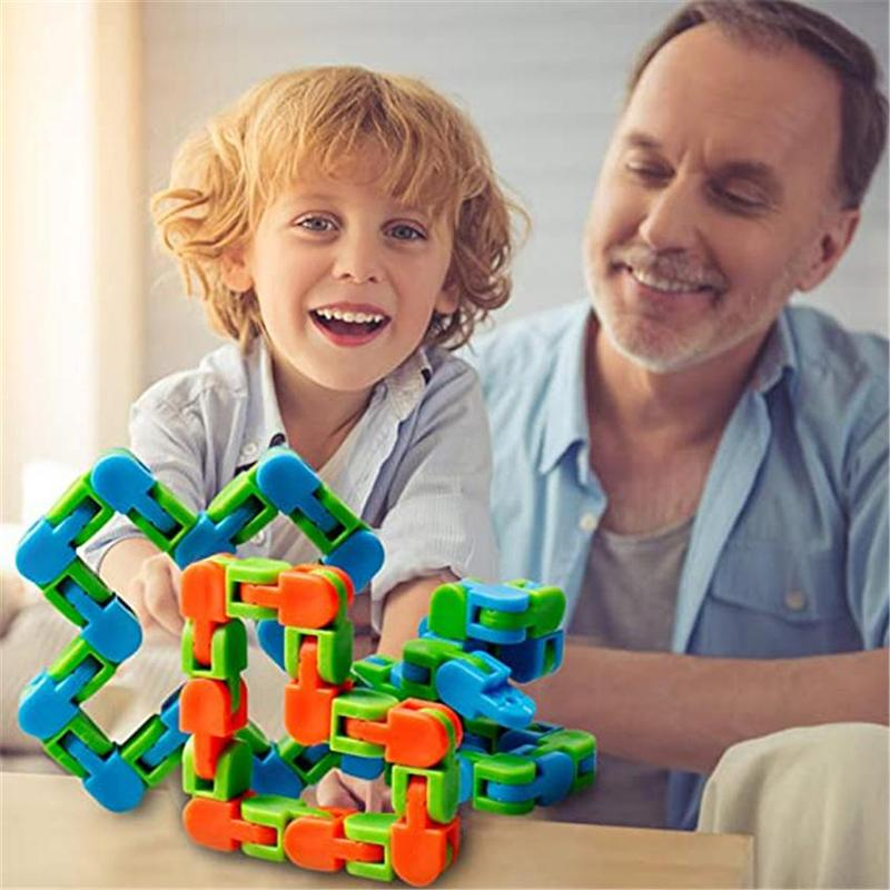 Wacky Tracks Snap and Click Fidget Toy 1 Pieces 24 Links Bicycle Chain Track Decompression Finger Sensory Toys Snake Puzzles for Stress Relief
