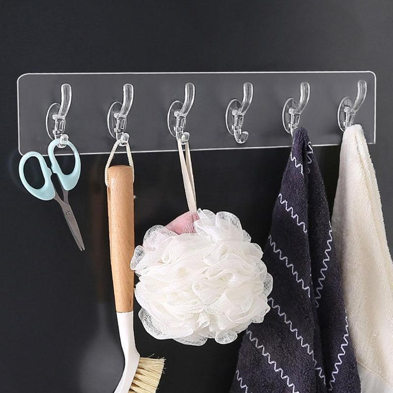 Perchas Racks Transparent Wall Coat Ganchos Hogar Cocina Cuarto de baño Sombrero Ropa Bolsa Hanger Hook Sin Fisuras Toalla Vajilla Almacenamiento Rack