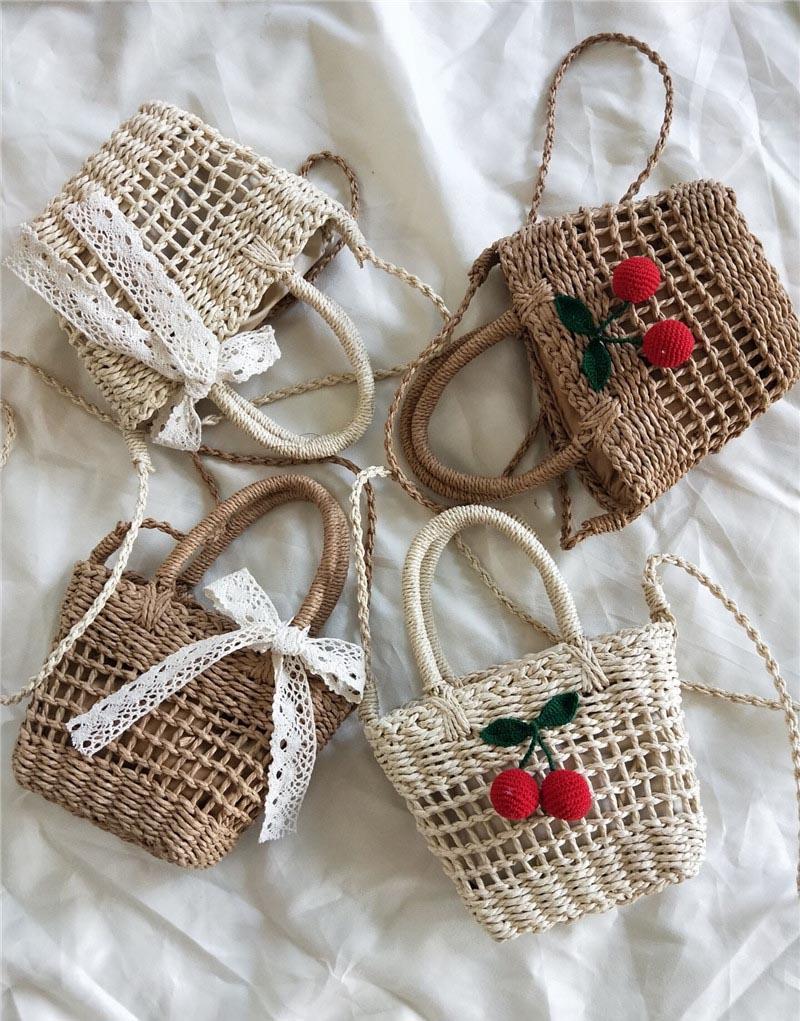 Ins Girl Weaving Cherry Handbags Shoulder Youth Beach Casual Messenger Bag