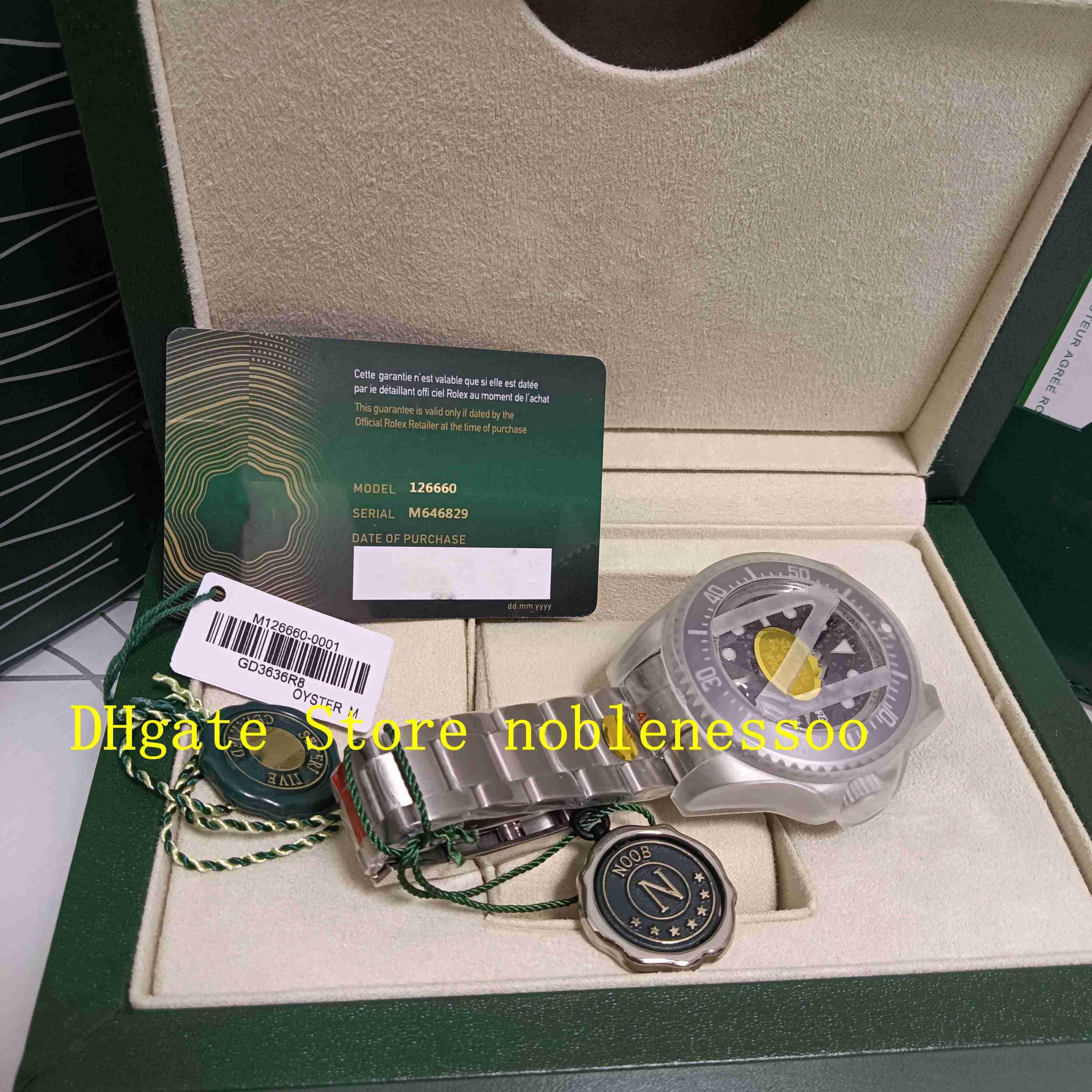 オリジナルボックスN工場126660ブラックダイヤルセラミックベゼル116660ブルーオイスターブレスレットノブフ904L Eta Cal.2813自動メカニカルウォッチ