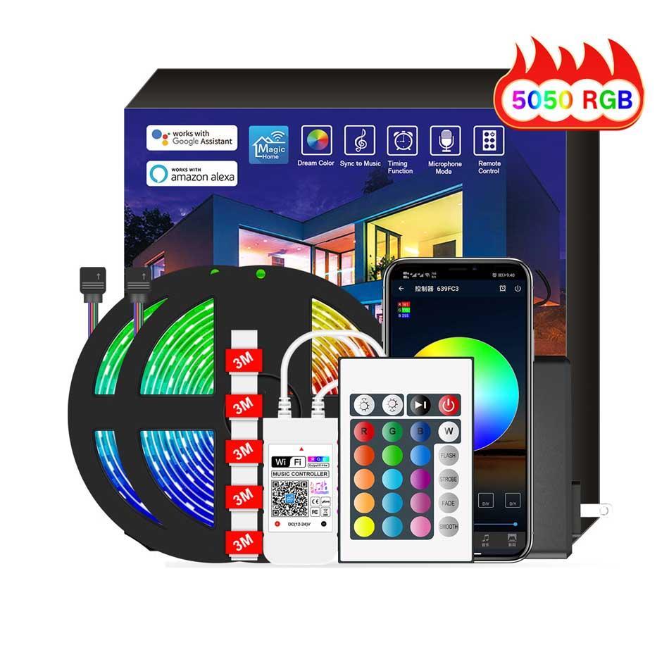 Bluetooth Light Belt Set 5050 RBG SMD LED Strips Waterproof Wifi Smart Lights Strip APP+24 Key IR Control for Bedroom Home TV Party