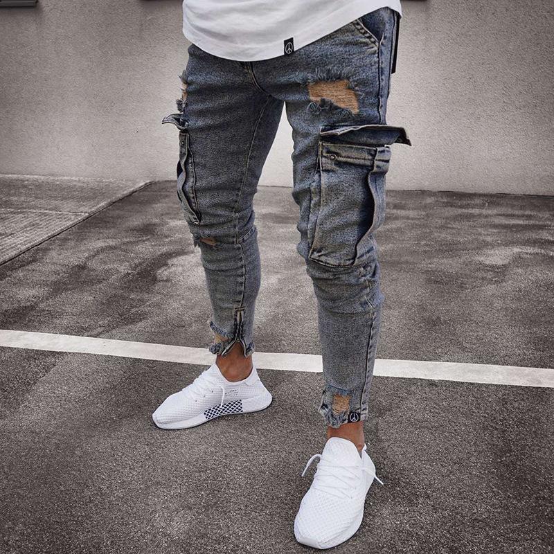 رجل جينز الصخرة repival جينز الرجل تصميم الملابس 20ss ضيق عداء ببطء الطباعة المرقعة موتو رياضية مستقيم نحيل حفرة النخيل رجل الحضر