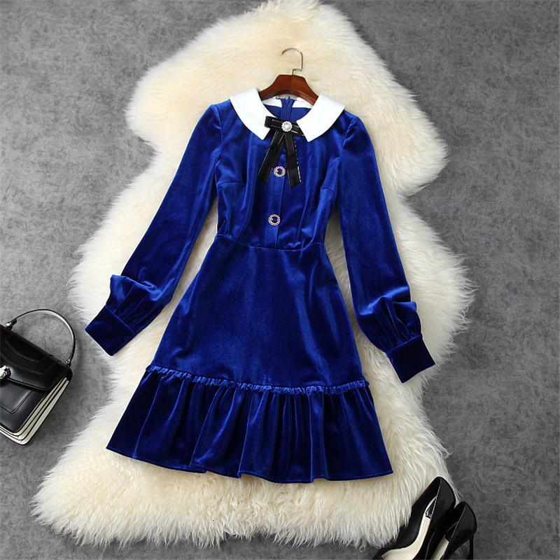 Zarif kadınlar sonbahar Peter yaka kadife giyimli giyinmiş plied aline mini bornoz femme parti elbise
