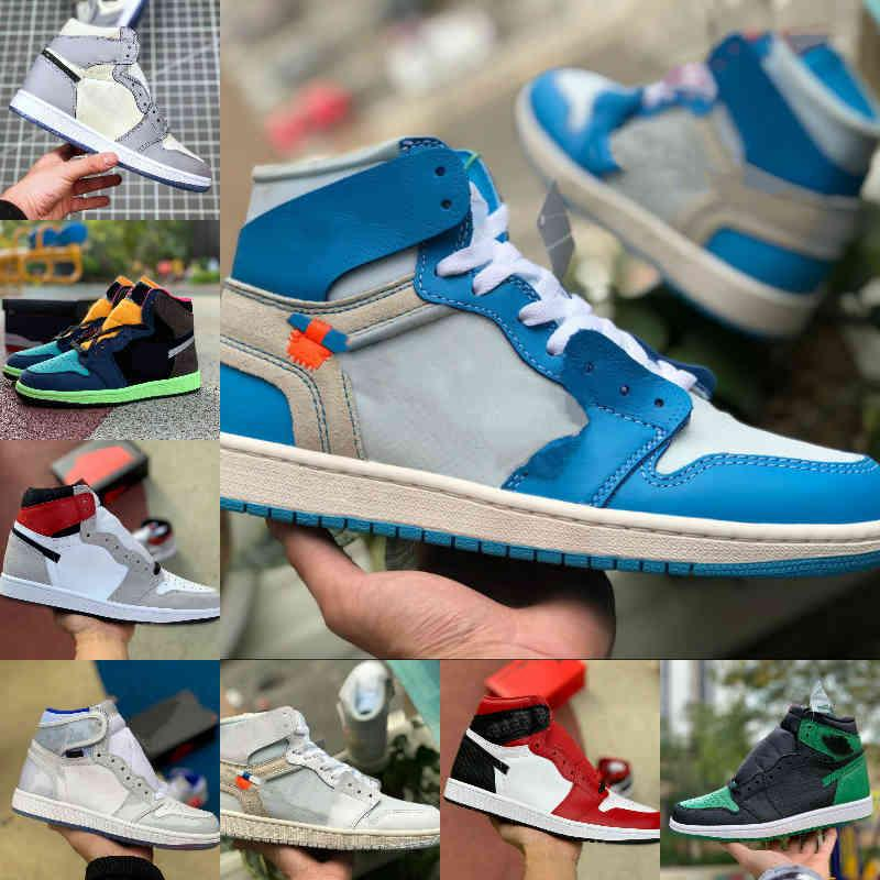 2021 Yeni 1 1 S Basketbol Ayakkabıları Erkekler Kadınlar Kravat Boya OG Bio Hack Ampul Blue UNC oyunu Kraliyet Patent Kırmızı Beyaz Siyah Kraliyet Twist Yeşil Toe Mocha Tasarımcısı