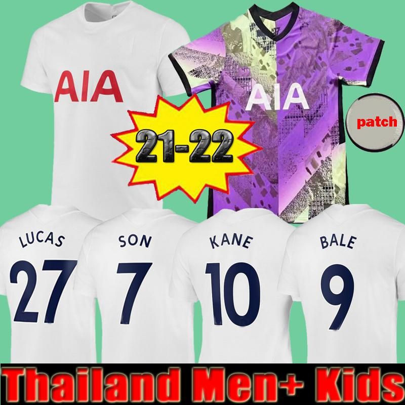 Hombres + Kits Kit 22 22 Kane Son Bale Bergwijn Ndombele Soccer Jerseys 2021 2022 Lucas Dele Reguilon Jersey Camisa de Fútbol Lo Celso Home Third Third