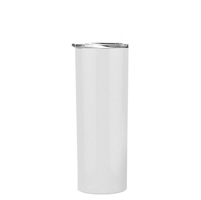 Bicchieri dritti a sublimazione in bianco 20oz tazze di trasferimento di calore in acciaio inox con coperchio e paglia di plastica CYZ3086