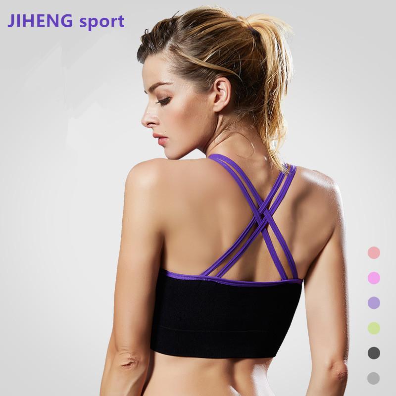 Sutyen seti kontrast renk çapraz ba yoga spor shoproof koşu yelek büyük iç çamaşırı