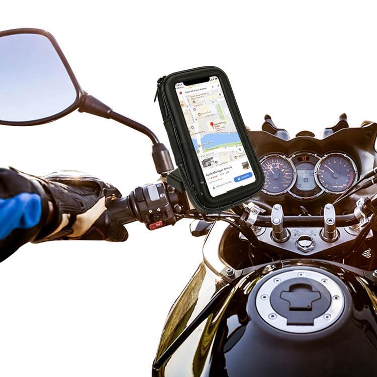 오토바이 백미 미러 방수 가방 휴대 전화 마운트 홀더 360 회전