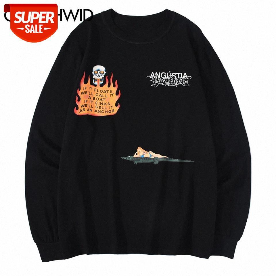 T-shirt Yangın Alev Kafatası Timsah Baskı Uzun Kollu Tees Gömlek Streetwear Hip Hop Harajuku Rahat Pamuk Tişörtleri Moda Tops Partisi # PL41