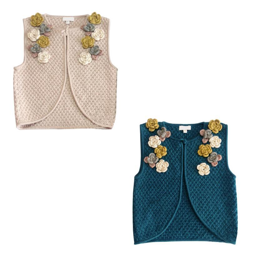 New arrival baby girls flower knitting vest brand good quality sweater children holiday cute tops kids clothes 4-11Y ws912