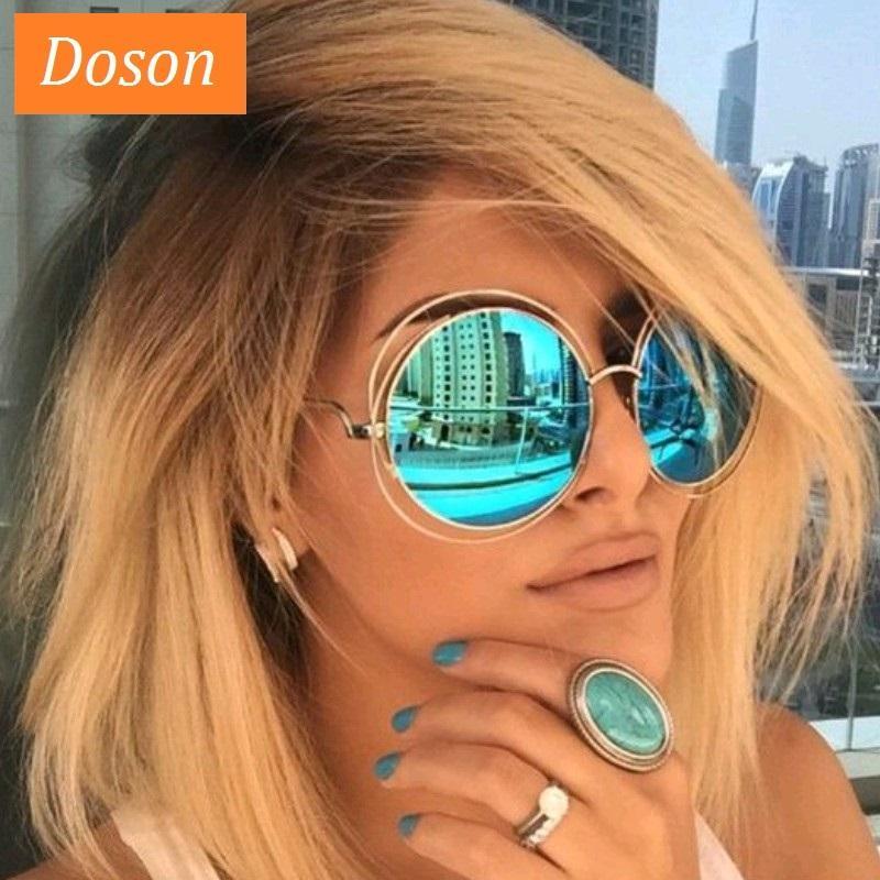 Las gafas de sol de gran tamaño redondas para las mujeres que conducen el espejo de las gafas de sol femenino femenino de la lente de gradiente de la lente de gradiente de los oculos de sol