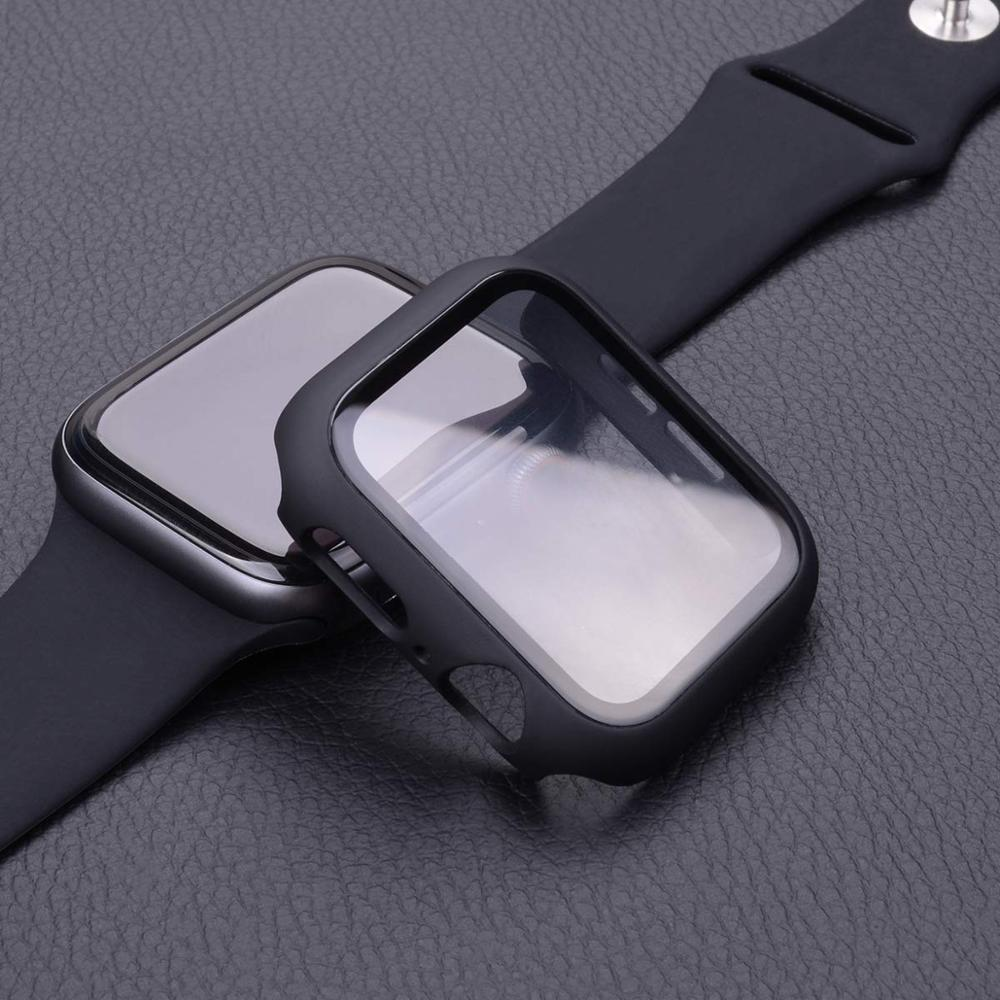 Cover for apple watch case 44mm 40mm 38mm 42mm iwatch case screen protector bumper Tempered Glass apple watch series 6 se 5 4 3