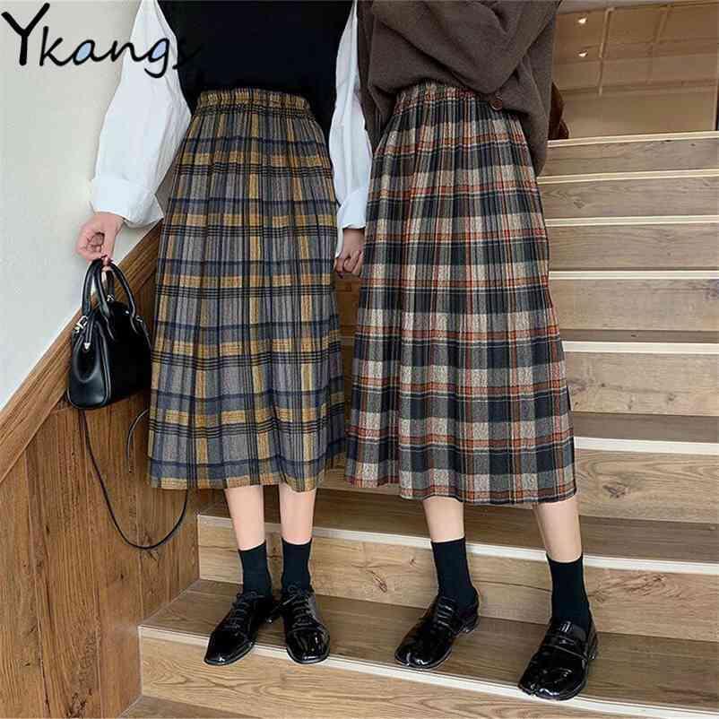 Frauen Plaid Röcke Winter Warme Wolle Hohe Taille Falten Rock Harajuku Studenten Mädchen Kawaii Lange Röcke Koreanische Saia Midi 210412